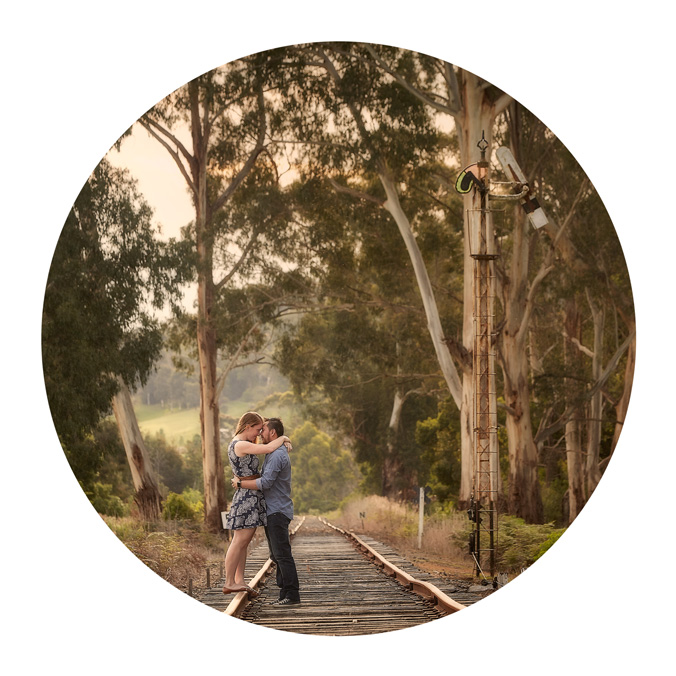 Healesville train tracks Engagement portraits 15